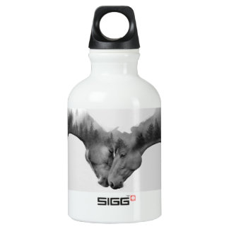Horse double exposure -horses in love -wild horses aluminum water bottle