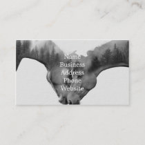 Horse double exposure -horses in love -wild horses business card