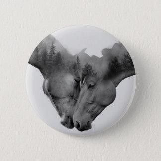 Horse double exposure -horses in love -wild horses button