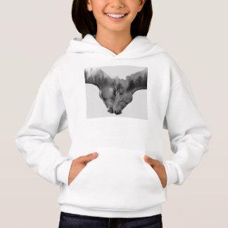 Horse double exposure -horses in love -wild horses hoodie