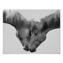 Horse double exposure -horses in love -wild horses poster