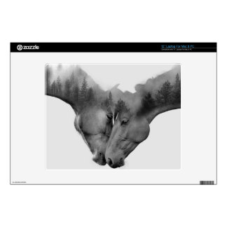 Horse double exposure -horses in love -wild horses skins for laptops
