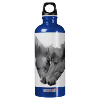 Horse double exposure -horses in love -wild horses water bottle