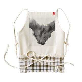Horse double exposure -horses in love -wild horses zazzle HEART apron