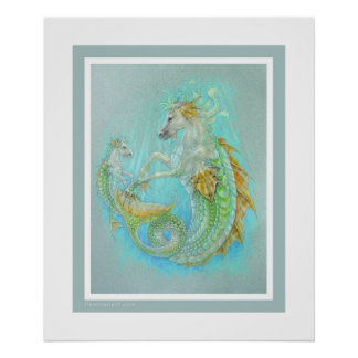 Horse Dragon & Baby (hippocampus) Poster