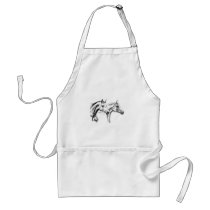 Horse drawing sketch art handmade adult apron