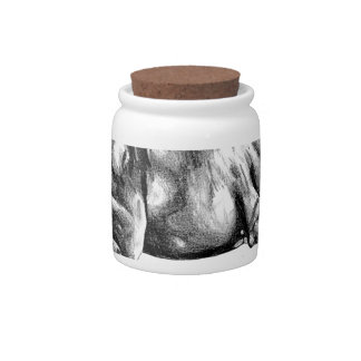 Horse drawing sketch art handmade candy jar