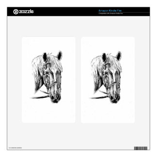 Horse drawing sketch art handmade decal for kindle fire