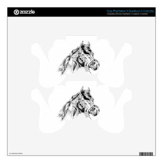 Horse drawing sketch art handmade decal for PS3 controller