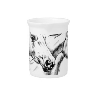 Horse drawing sketch art handmade pitcher