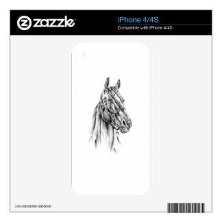 Horse drawing sketch art handmade skins for the iPhone 4