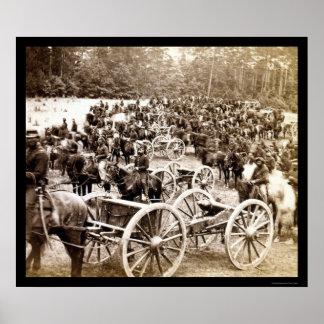 Horse Drawn Cannons near Fair Oaks, VA 1862 Poster