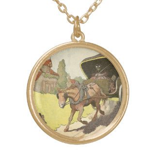 Horse Drawn Carriage Illustrated Gold Plated Necklace