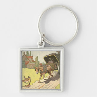 Horse Drawn Carriage Illustrated Keychain