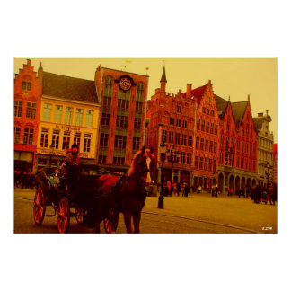 Horse Drawn Carriage in Bruges Poster
