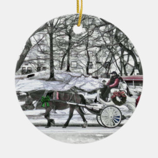 Horse Drawn Carriage in New York City Double-Sided Ceramic Round Christmas Ornament
