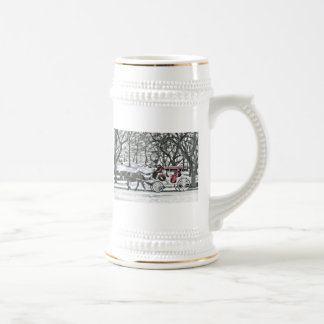 Horse Drawn Carriage in New York City 18 Oz Beer Stein