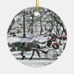 Horse Drawn Carriage in New York City Christmas Tree Ornaments