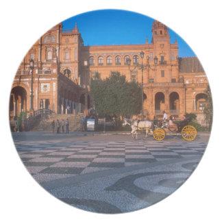 Horse drawn carriage in the Plaza de Espana in Melamine Plate