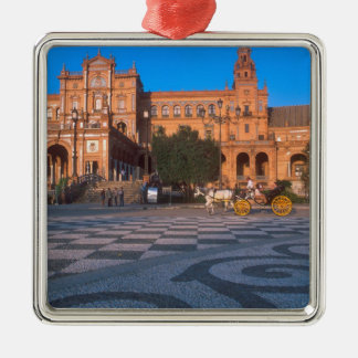 Horse drawn carriage in the Plaza de Espana in Christmas Tree Ornament