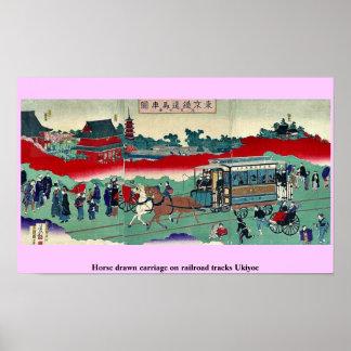 Horse drawn carriage on railroad tracks Ukiyoe Poster