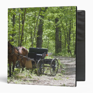 Horse drawn carriage tethered in woods 3 ring binder