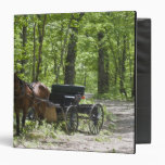 Horse drawn carriage tethered in woods binders