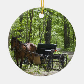 Horse drawn carriage tethered in woods ceramic ornament