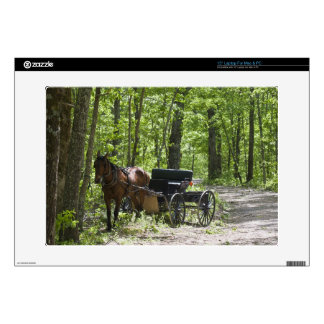 """Horse drawn carriage tethered in woods skin for 15"""" laptop"""