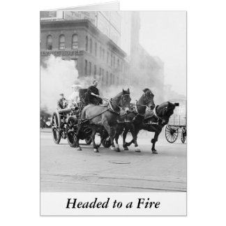 Horse Drawn Fire Engine, early 1900s Greeting Card