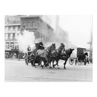Horse Drawn Fire Engine, early 1900s Postcard