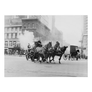 Horse Drawn Fire Engine, early 1900s Posters