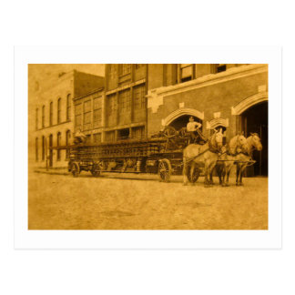 Horse Drawn Hook and Ladder Fire Company Postcard