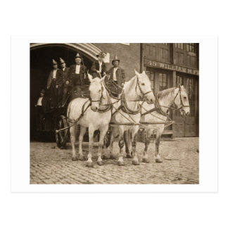 Horse Drawn Hook and Ladder Fire Company - Vintage Post Cards