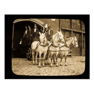 Horse Drawn Hook and Ladder Fire Company - Vintage Postcard