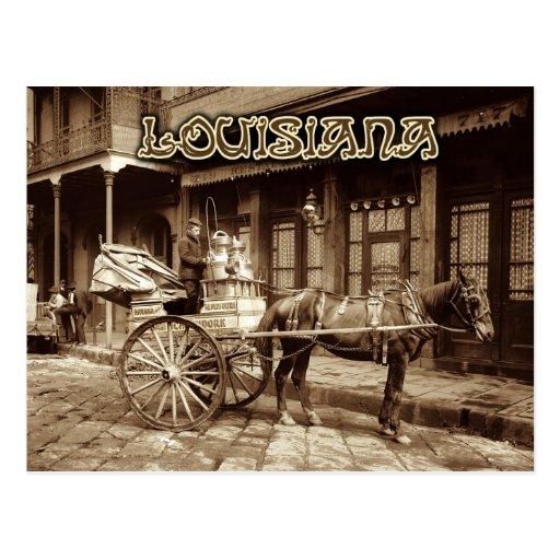 Horse drawn milk cart, New Orleans, Louisiana Post Cards