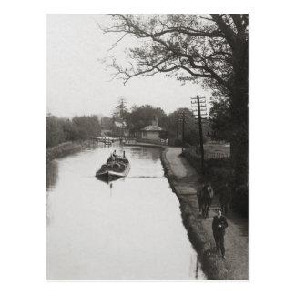 Horse drawn narrowboat Watford UK Postcard
