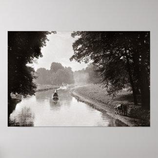 Horse drawn narrowboat Watford UK Poster