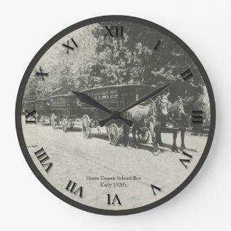 Horse Drawn School Bus Clock