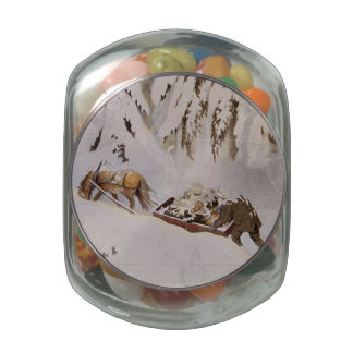 Horse Drawn Sled in the Woods Jelly Belly Candy Jar