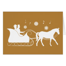 Horse-Drawn Sleigh at Christmas in Silhouette Card