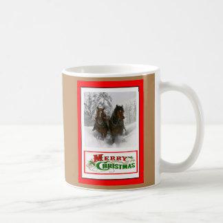 horse drawn sleigh christmas coffee mug