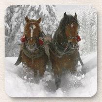 horse drawn sleigh christmas drink coaster