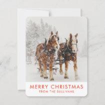 Horse Drawn Sleigh Christmas Scene Holiday Card