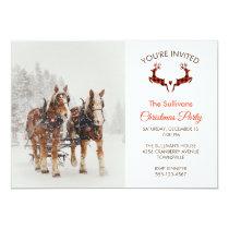 Horse Drawn Sleigh Christmas Scene Invitation