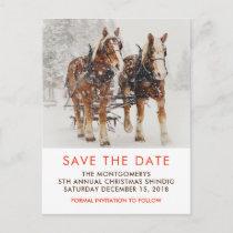 Horse Drawn Sleigh Christmas Scene Save the Date Postcard
