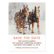 Horse Drawn Sleigh Christmas Scene Save the Date Postcard
