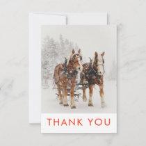 Horse Drawn Sleigh Christmas Scene Thank You