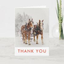 Horse Drawn Sleigh Christmas Scene Thank You Card