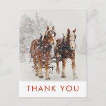 Horse Drawn Sleigh Christmas Scene Thank You Postcard